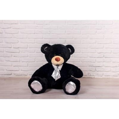 Мишка Оскар черный, 110см (бант серебряный)