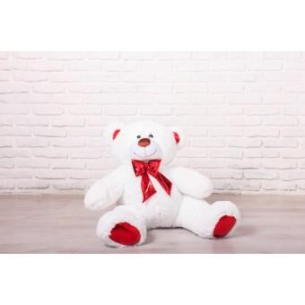 Мишка Оскар белый, 110см (бант красный)