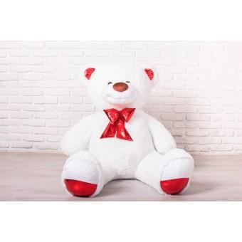 Мишка Оскар белый, 170см (бант красный)